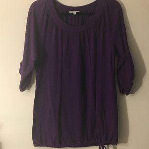 NWOT purple tie bottom half sleeve top